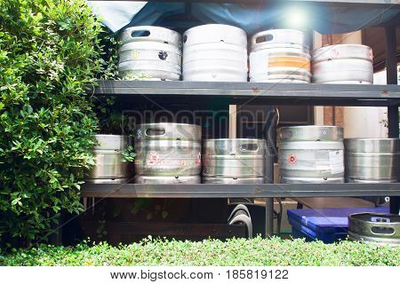 Kegs on shelf at a brewery or pub&restaurant