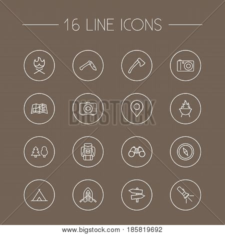 Set Of 16 Picnic Outline Icons Set.Collection Of Baggage, Rubber Boat, Binoculars And Other Elements.