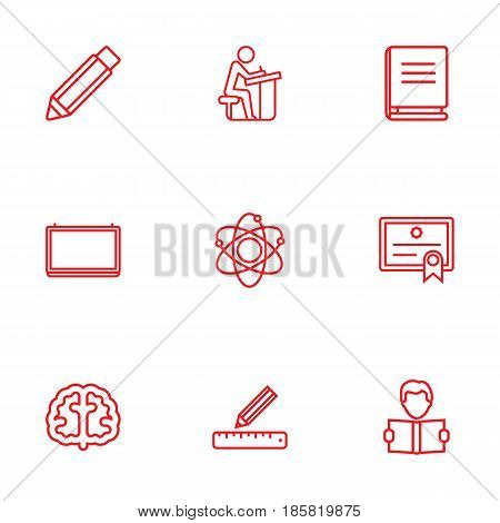 Set Of 9 Studies Outline Icons Set.Collection Of School Board, Pencil, Encyclopedia And Other Elements.