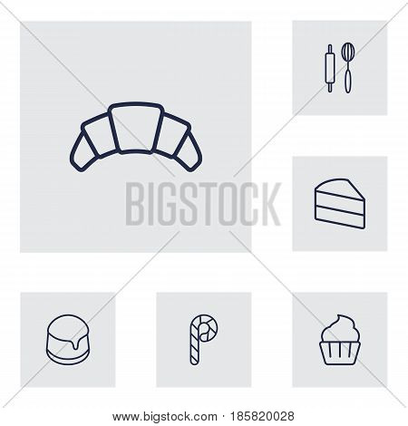 Set Of 6 Stove Outline Icons Set.Collection Of Cake, Rolling Pin, Pudding And Other Elements.
