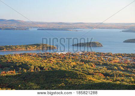 morning landscape view of Bar Harbor in Acadia National Park