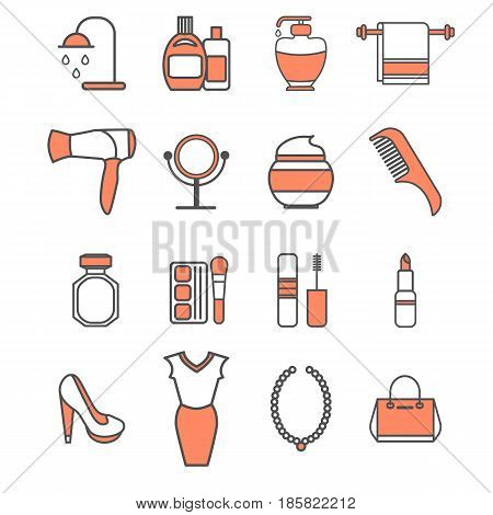 Vector beauty icons set. Make-up, cosmetics, perfumes, fashion and beauty accessories, clothes, shoes, jewelry symbols isolated on white background.