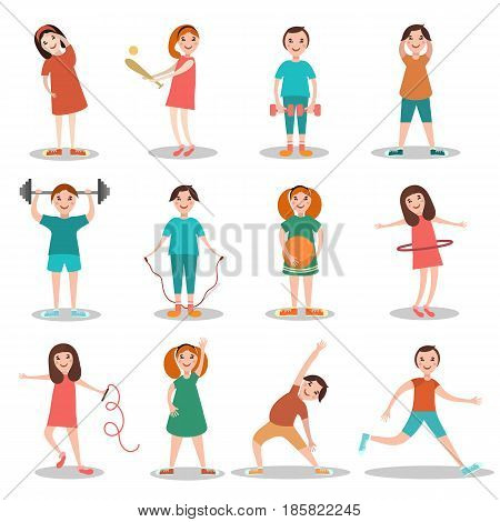 Children doing sports vector illustration. Kids exercising, playing games flat style design cartoon characters, icons isolated on white background.