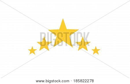 3d five stars on white background. five stars sign.