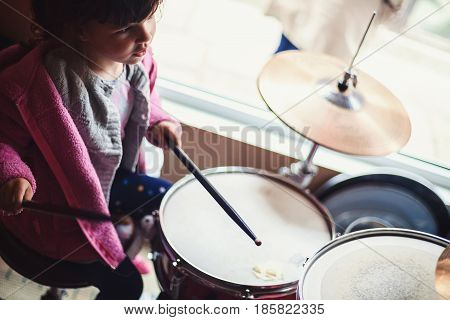 Young Child On Drums