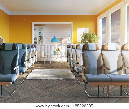 An airplane business class seats in the room. Vip transport concept. Photo combination