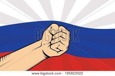 russia protest fight against a government illustration with flag as background and hand vector