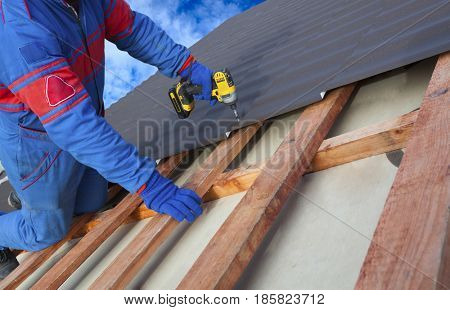 Man worker uses a power drill to attach a cap  metal roofing job with screws.