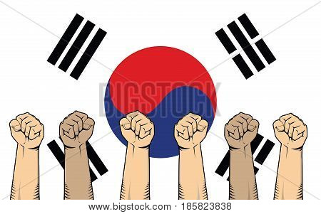 south korea protest fight against a war illustration with flag as background and a lot of hand vector