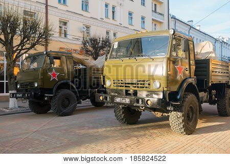 Smolensk, Russia - May 03, 2017: Russian military vehicles KAMAZ on the street of the City.