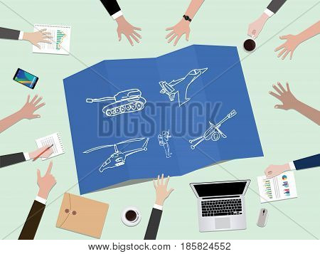 military country development power concept illustration with hand team work together on top of the table vector