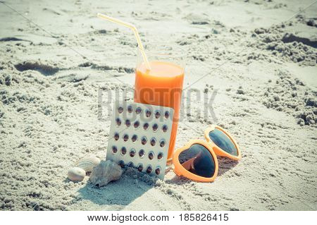 Medical Pills, Carrot Juice And Sunglasses At Beach, Concept Of Vitamin A And Beautiful, Lasting Tan