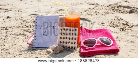 Medical Pills, Carrot Juice And Accessories For Sunbathing At Beach, Concept Of Vitamin A And Beauti
