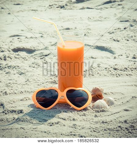 Vintage Photo, Carrot Juice And Sunglasses, Concept Of Vitamin A And Beautiful, Lasting Tan
