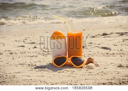 Vintage Photo, Carrot Juice, Sunglasses And Sun Lotion, Concept Of Vitamin A And Beautiful, Lasting