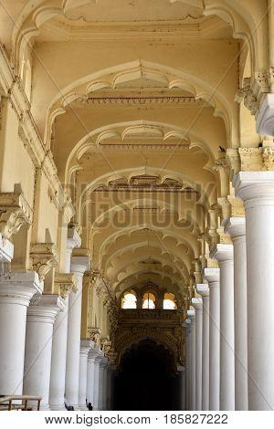 Madurai, Tamilnadu - India - March 21, 2017 - Thirumalai Nayakar Palace