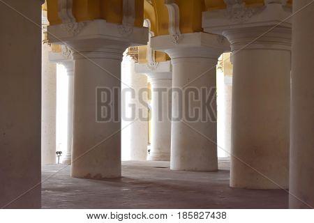 Madurai, Tamilnadu - India - March 21, 2017 - Corridor Of Thirumalai Nayakkar Mahal Palace