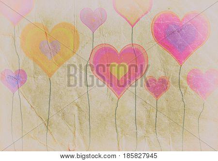 Grunge colorful hearts, vintage background