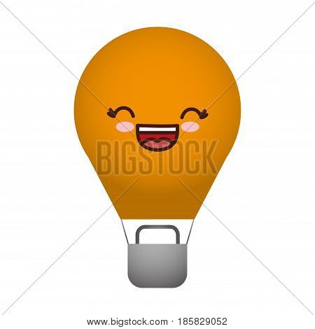 kawaii hot air balloon icon over white background. colorful design. vector illustration