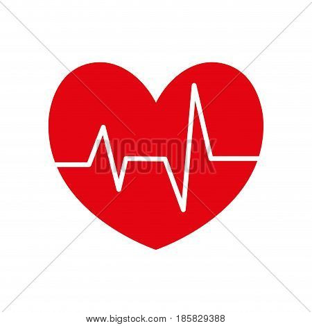 cardio heart icon over white background. colorful design. vector illustration