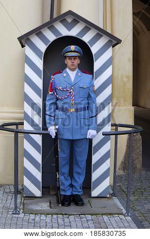 Prague Czech Republic - September 26 castle guard in Prague September 26 2016 in Prague Czech Republic