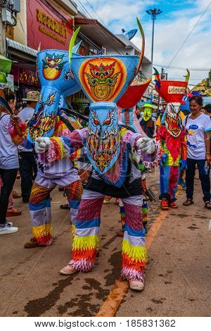 LOEI THAILAND - JUNE 27, 2015 : Thai northeastern traditional Phi Ta Khon ghost festival parade in Dansai of Loei, Thailand.