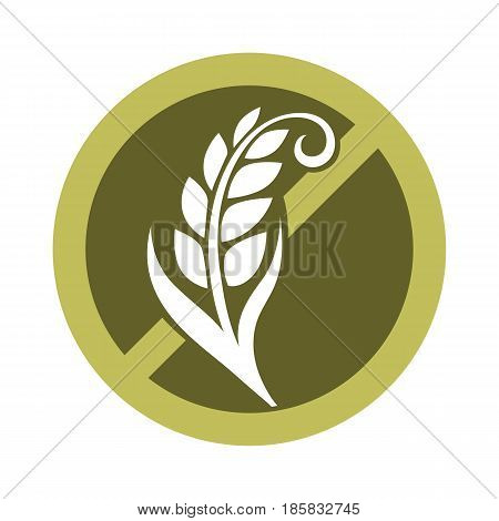 Gluten free substance in cereal grains logo design in prohibiting circle with crossed wheat vector illustration isolated on white. Product without ingredient responsible for elastic texture of dough