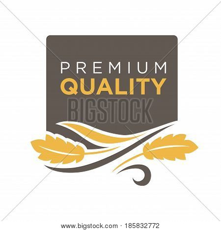Premium quality grain logo with ears of wheat symbol isolated on white. Fresh yellow grain with text logotype written on black circle vector illustration in flat design. Advertisement bread label