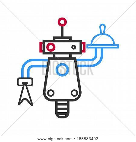 Outlined simple robot waiter with antenna and buttons carries meal on tray and handkerchief isolated vector illustration on white background. Automatic machine for restaurant service sketch.