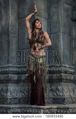 beautiful tribal woman dancer in old temple