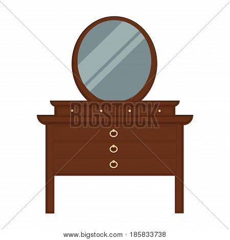 Pier glass made of dark wood with lot of drawers with gold handles in form of circles in old-fashioned design with big round mirror isolated on white background. Vintage furniture vector illustration.