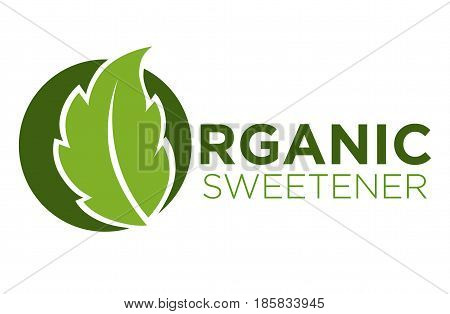 Organic sweetener green symbol of stevia or sweet grass logo on white background. Verdant leaf closeup, extract of perennial plant used as sweet or sugar substitute vector illustration graphic design.