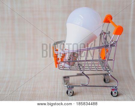 The white LED light bulbs on a cart