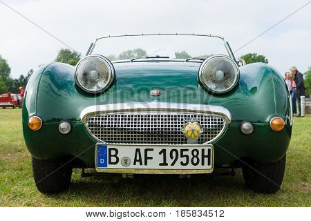 PAAREN IM GLIEN GERMANY - MAY 19: The two-door roadster sports car Austin-Healey Sprite The oldtimer show in MAFZ May 19 2013 in Paaren im Glien Germany