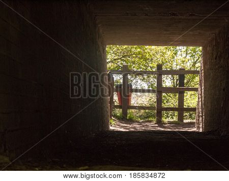 The View Through An Underground Tunnel Underpass Outside Near The Railway And Through A Walking Path