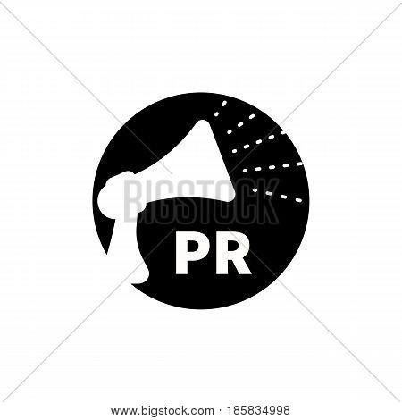 Black and white round icon logo public relations pr. Vector illustration