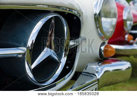 PAAREN IM GLIEN GERMANY - MAY 19: Detail of the front of the close-up two-door roadster Mercedes-Benz 190SL The oldtimer show in MAFZ May 19 2013 in Paaren im Glien Germany