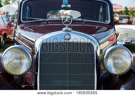 PAAREN IM GLIEN GERMANY - MAY 19: Mid-size luxury car Mercedes-Benz 230 (W153) front close-up The oldtimer show in MAFZ May 19 2013 in Paaren im Glien Germany