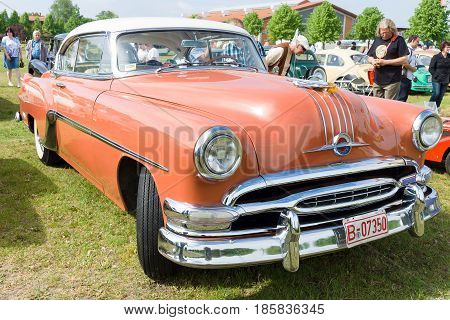 PAAREN IM GLIEN GERMANY - MAY 19: Two-door coupe Pontiac Star Chief First generation (1954) front view The oldtimer show in MAFZ May 19 2013 in Paaren im Glien Germany