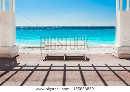 White Bench On The Promenade Des Anglais In Nice, France