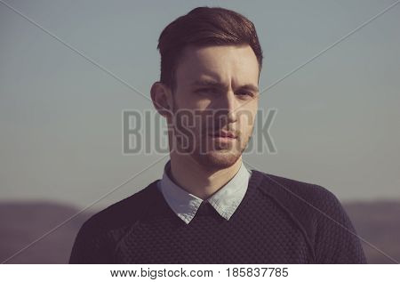 Fashionable Model With Bristle On Unshaven Face