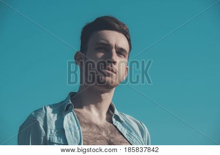 Caucasian Model, Man In Unbutton Shirt With Hairy, Naked Chest
