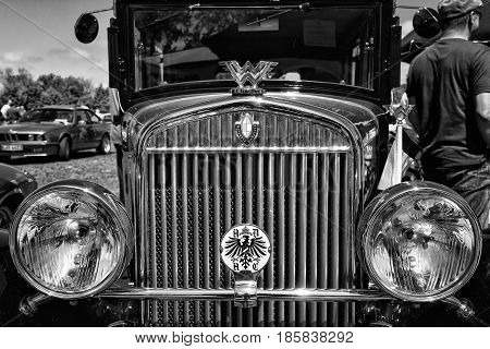 Paaren Im Glien, Germany - May 19: Detail Of The Front Of The Car Wanderer, (black And White),