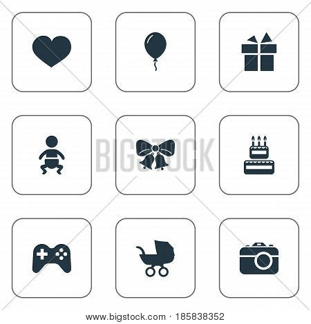 Vector Illustration Set Of Simple Celebration Icons. Elements Camera, Baby Carriage, Resonate And Other Synonyms Play, Carriage And Game.