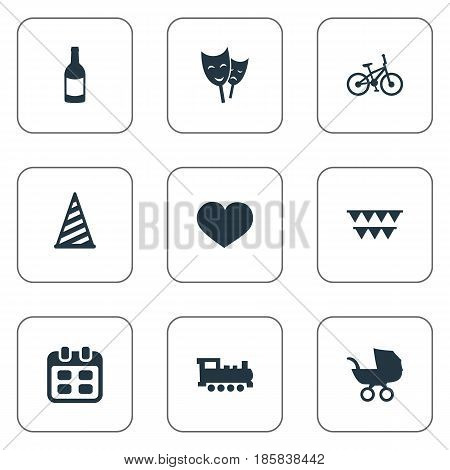 Vector Illustration Set Of Simple Birthday Icons. Elements Cap, Beverage, Days And Other Synonyms Sport, Party And Flags.