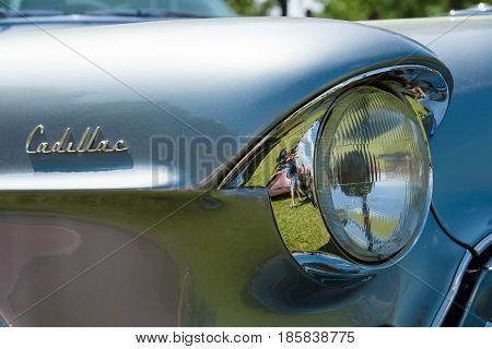 Paaren Im Glien, Germany - May 19: Detail Of The Front Of The Full-size Luxury Car Cadillac Series 6