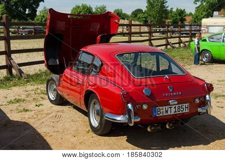 PAAREN IM GLIEN GERMANY - MAY 19: Sport Coupe Triumph GT6 rear view