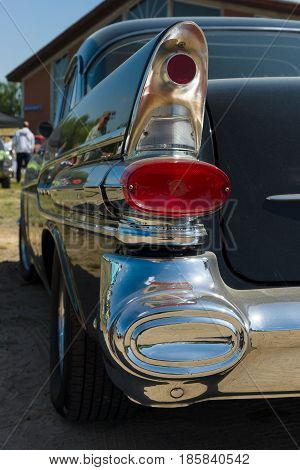 PAAREN IM GLIEN GERMANY - MAY 19: The rear brake lights Full-size car Pontiac Star Chief Catalina