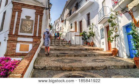 view of a street in Frigiliana pueblo blanco Spain, Andalusia