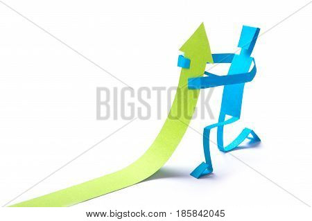 The worker raises the results up. Paper man from the paper raises the arrow of the chart up. Isolated on white background